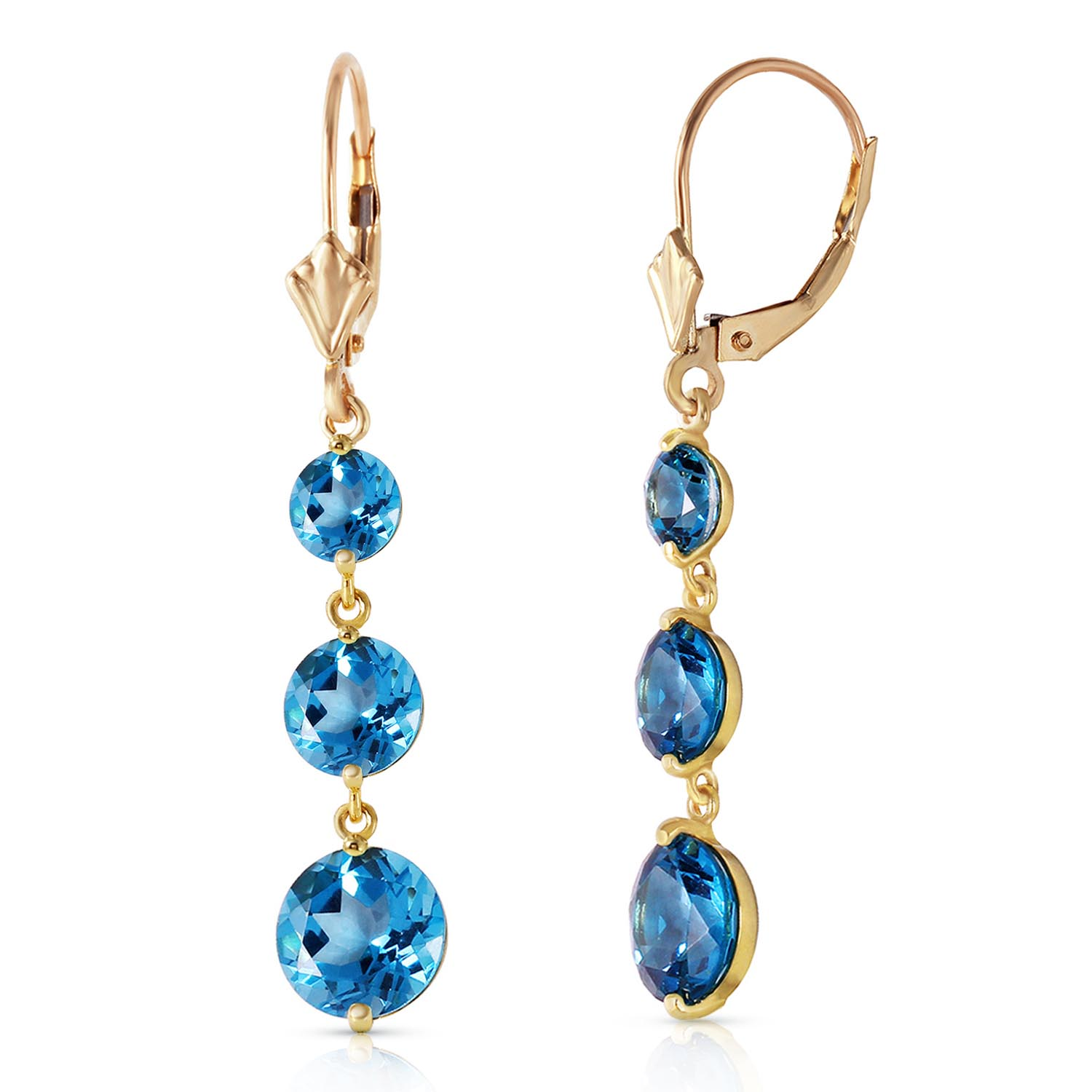 Blue Topaz Trinity Drop Earrings 7.2ctw in 9ct Gold