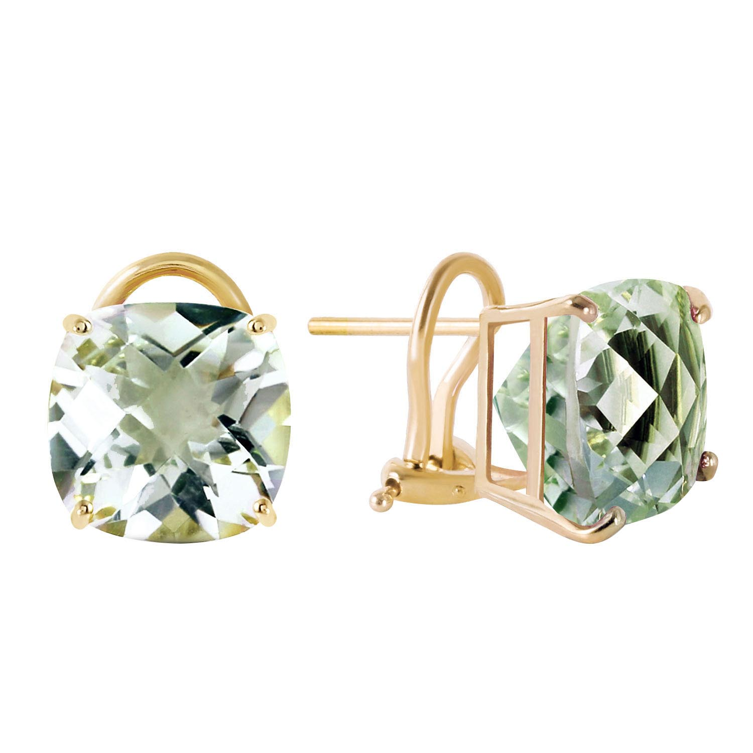 Green Amethyst Stud Earrings 7.2ctw in 9ct Gold