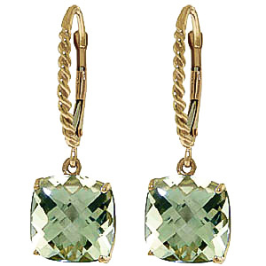 Green Amethyst Rococo Twist Drop Earrings 7.2ctw in 9ct Gold