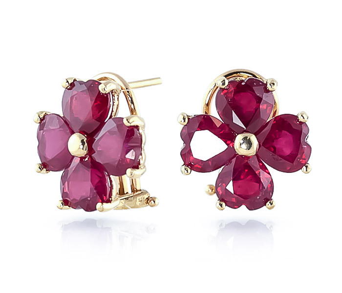 Ruby Flower Heart Stud Earrings 7.2ctw in 9ct Gold