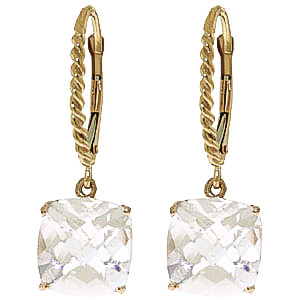 White Topaz Rococo Twist Drop Earrings 7.2ctw in 9ct Gold