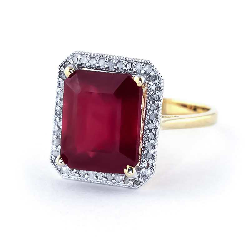 Ruby and Diamond Halo Ring 7.25ct in 9ct Gold