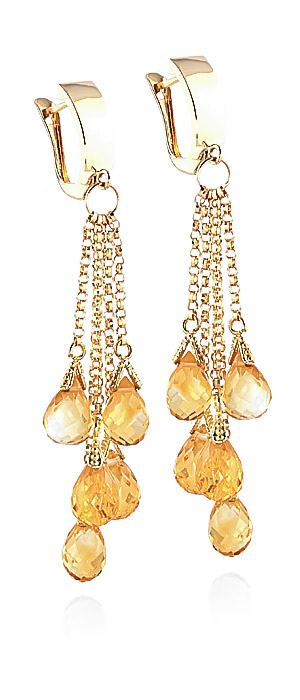 Citrine Droplet Briolette Earrings 7.3ctw in 9ct Gold