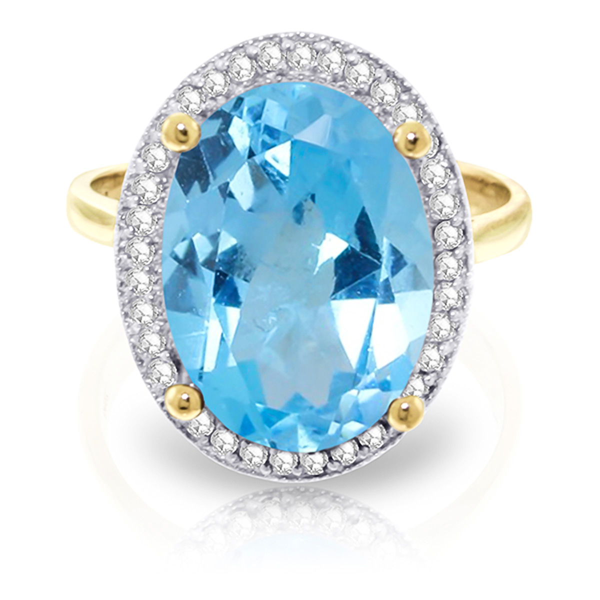 Blue Topaz and Diamond Halo Ring 7.4ct in 9ct Gold