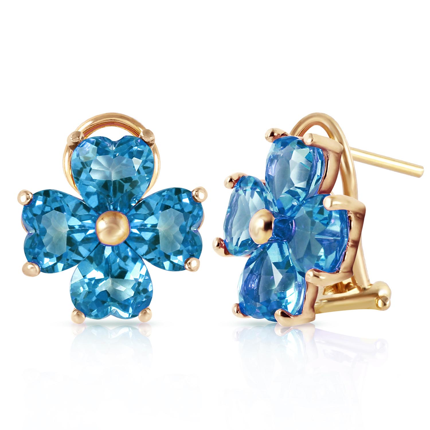 Blue Topaz Flower Heart Stud Earrings 7.6ctw in 9ct Gold