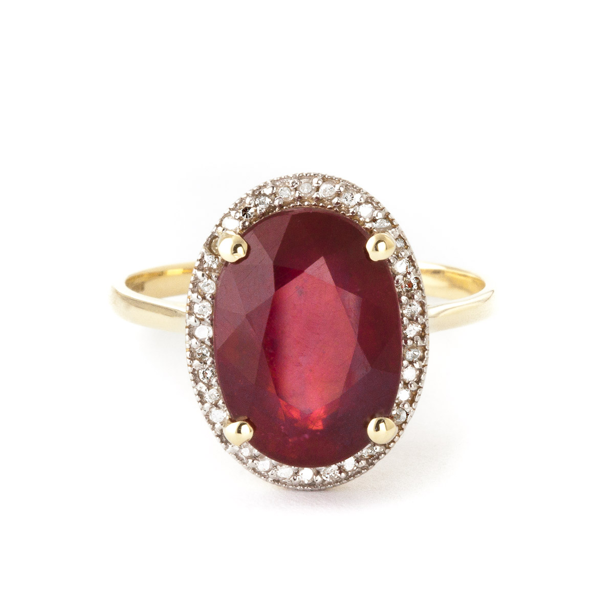 Ruby and Diamond Halo Ring 7.75ct in 9ct Gold