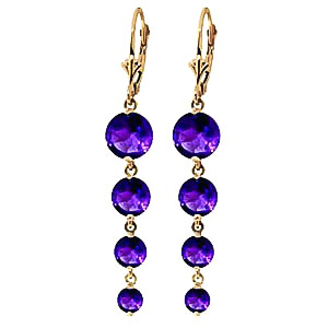 Amethyst Quadruplo Drop Earrings 7.8ctw in 9ct Gold