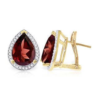 Garnet and Diamond French Clip Halo Earrings 7.8ctw in 9ct Gold