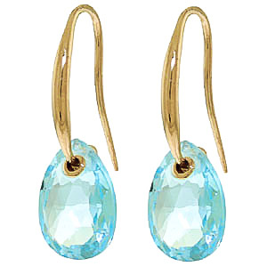 Blue Topaz Droplet Briolette Earrings 8.0ctw in 9ct Gold