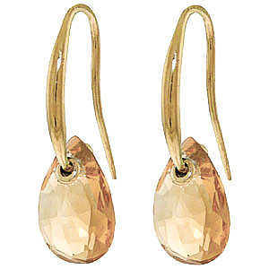 Citrine Droplet Briolette Earrings 8.0ctw in 9ct Gold