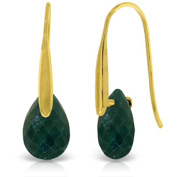 Corundum Briolette Drop Earrings 8.0ctw in 9ct Gold