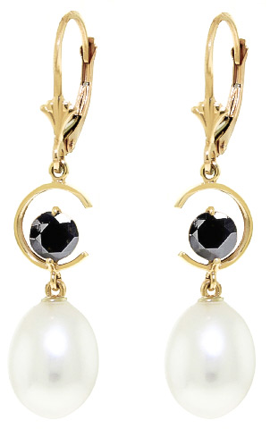 Pearl and Diamond Drop Earrings 8.0ctw in 9ct Gold