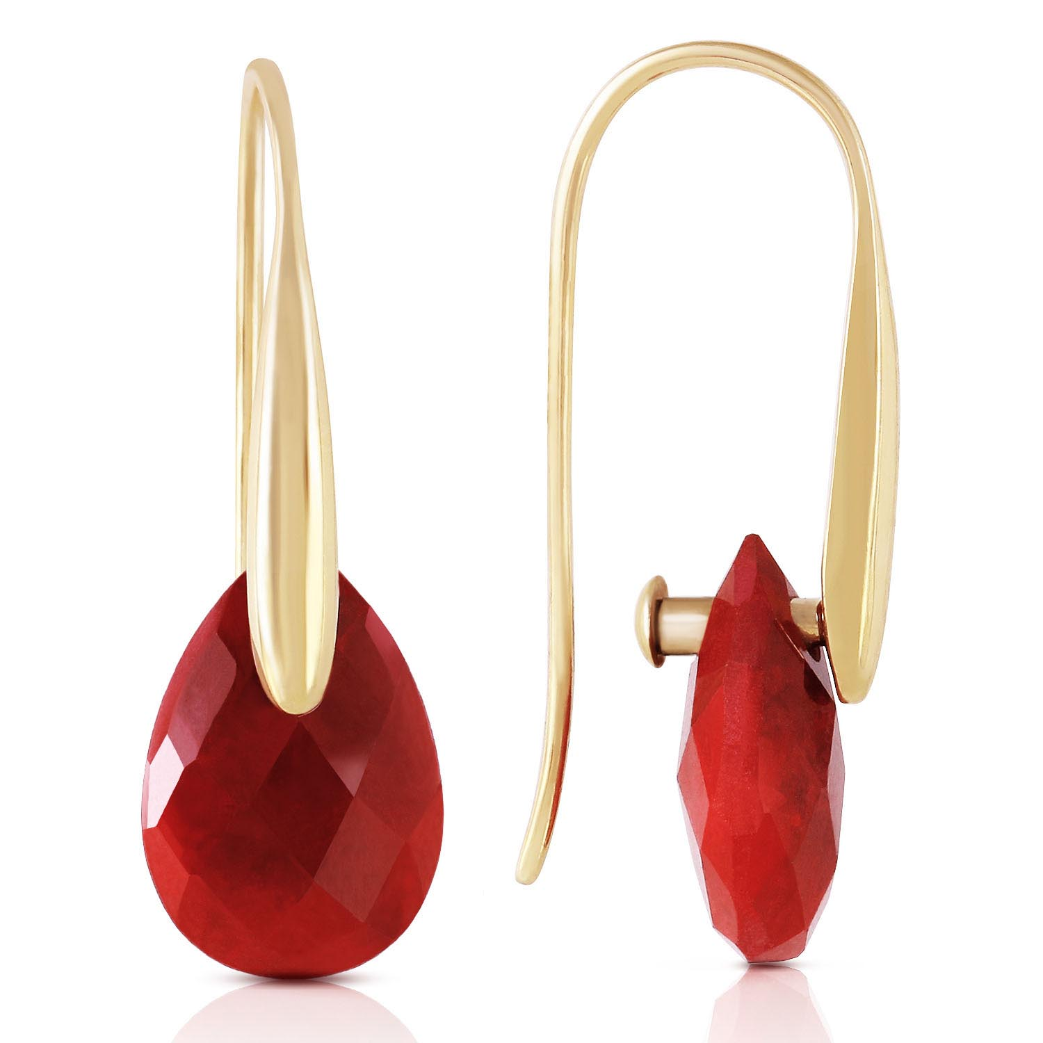 Ruby Briolette Drop Earrings 8.0ctw in 9ct Gold