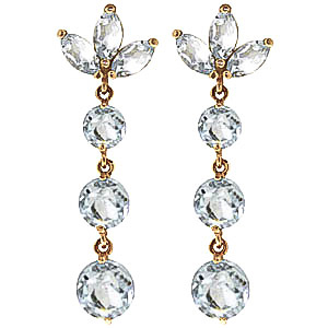 Aquamarine Petal Drop Earrings 8.7ctw in 9ct Gold