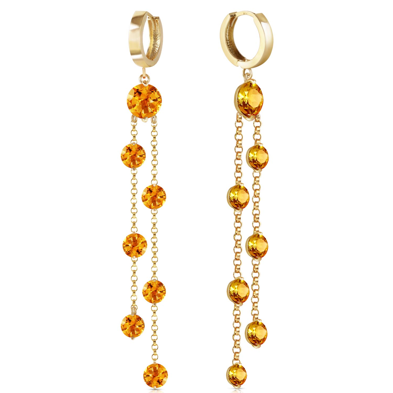 Citrine Roman Drop Earrings 9.02ctw in 9ct Gold