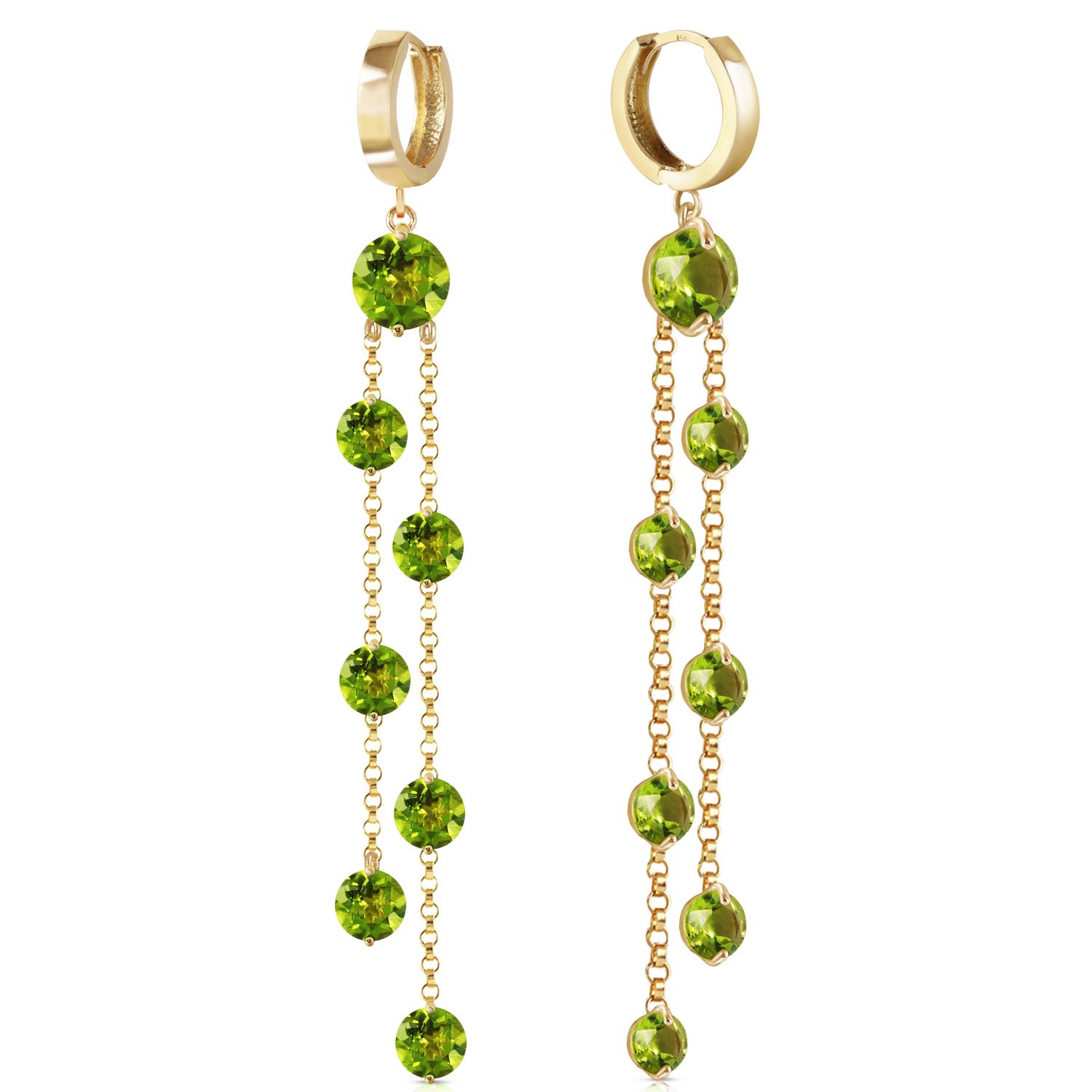 Peridot Roman Drop Earrings 9.02ctw in 9ct Gold