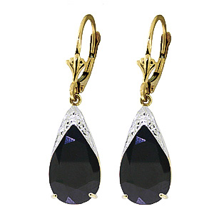 Sapphire Snowcap Drop Earrings 9.3ctw in 9ct Gold