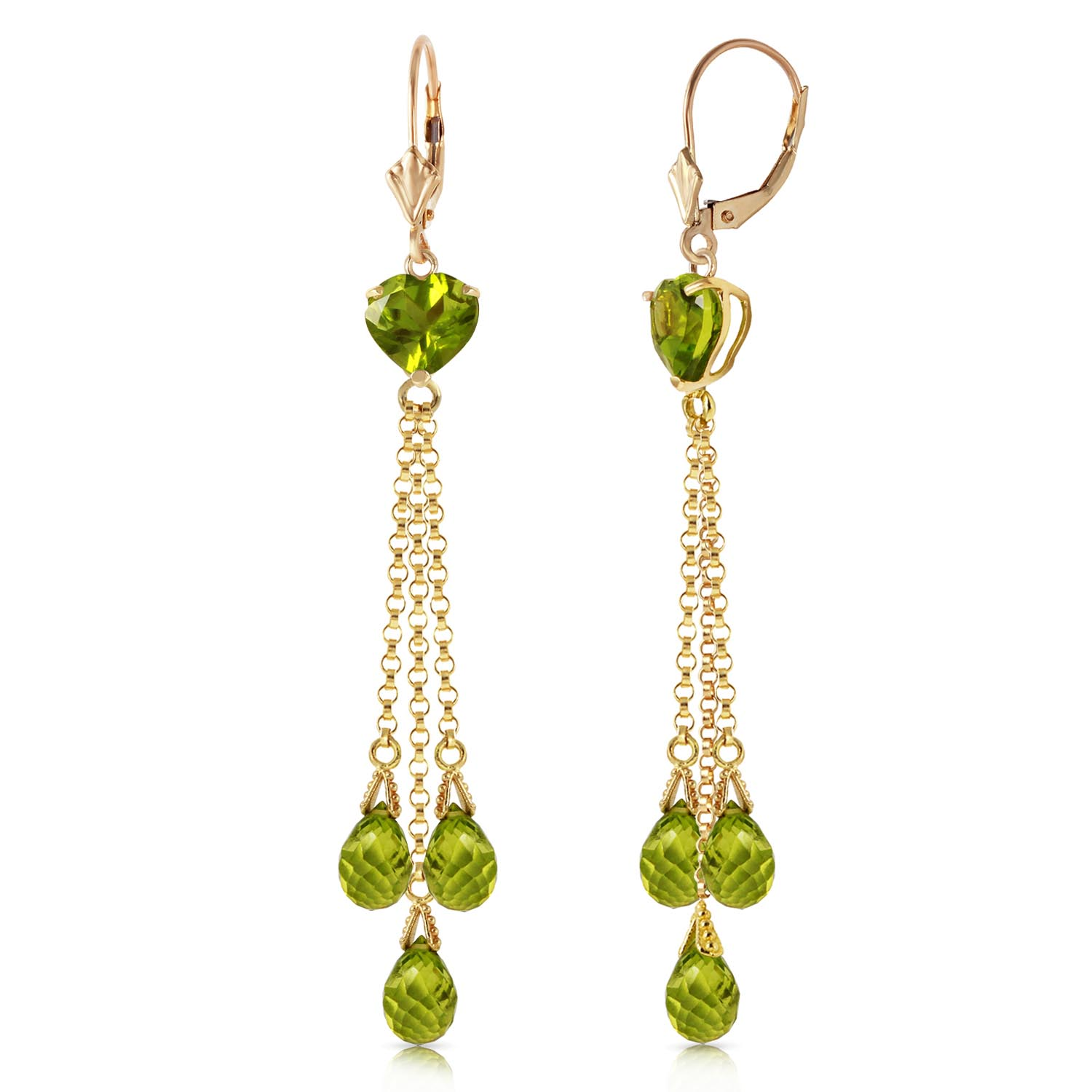 Peridot Vestige Heart Drop Earrings 9.5ctw in 9ct Gold