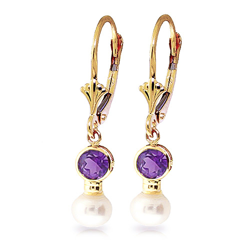 Pearl and Amethyst Drop Earrings 2.7ctw in 9ct Gold