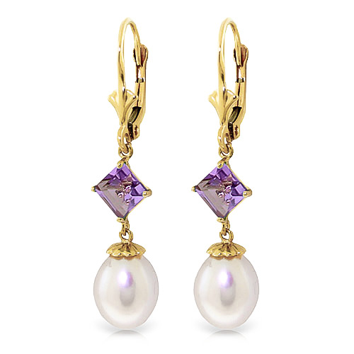 Pearl and Amethyst Droplet Earrings 9.5ctw in 9ct Gold