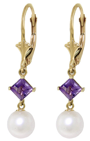Pearl and Amethyst Drop Earrings 5.0ctw in 9ct Gold