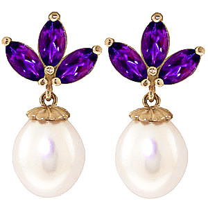 Pearl and Amethyst Petal Drop Earrings 9.5ctw in 9ct Gold