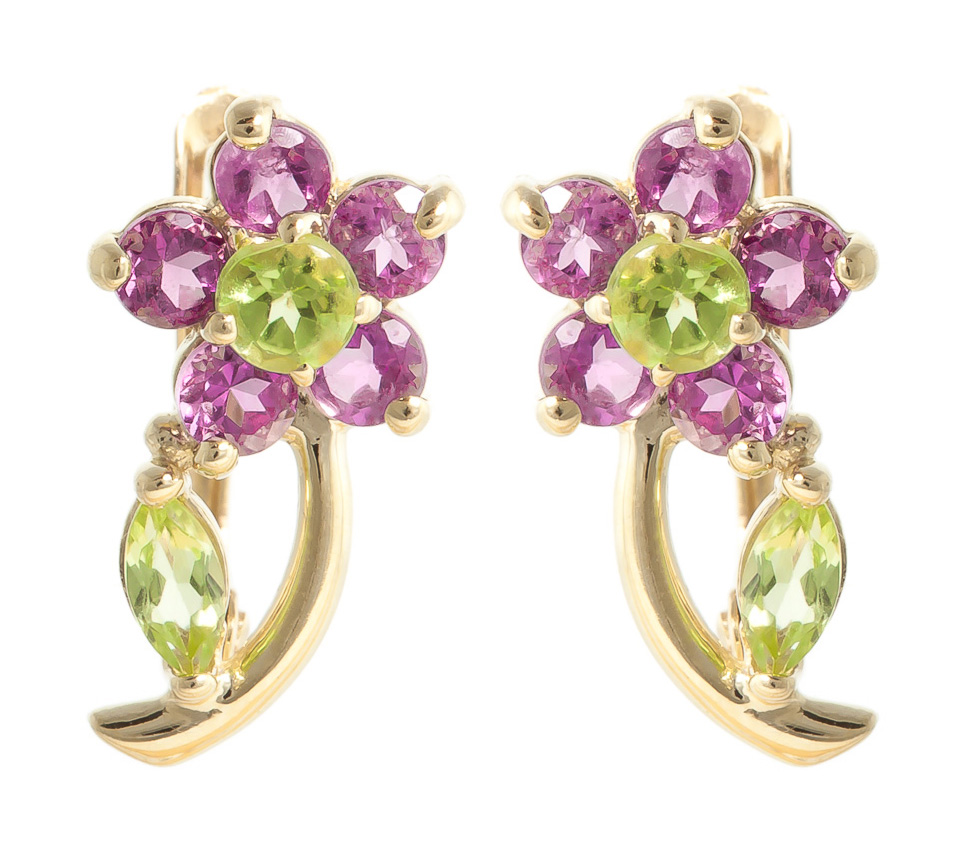 Peridot and Amethyst Flower Stud Earrings 1.72ctw in 9ct Gold