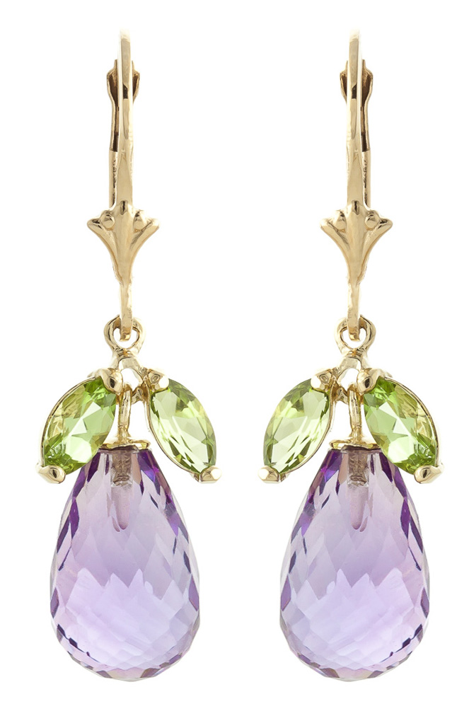 Peridot and Amethyst Drop Earrings 14.4ctw in 9ct Gold