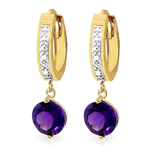 Diamond and Amethyst Huggie Earrings in 9ct Gold