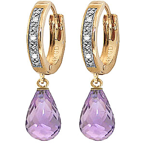Diamond and Amethyst Earrings in 9ct Gold