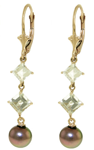 Pearl and Aquamarine Drop Earrings 6.5ctw in 9ct Gold