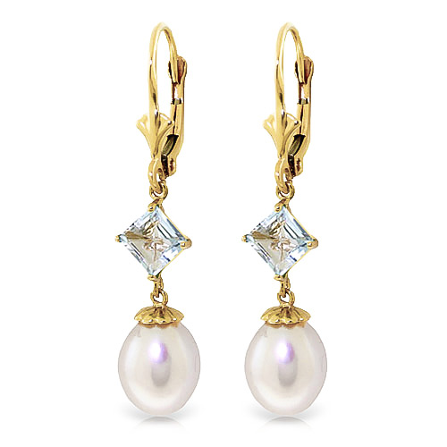 Pearl and Aquamarine Droplet Earrings 9.5ctw in 9ct Gold