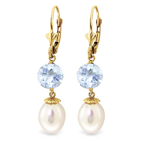 Pearl and Aquamarine Droplet Earrings 11.1ctw in 9ct Gold