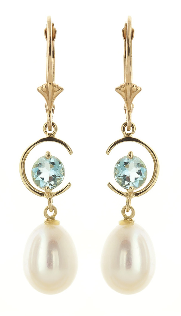 Pearl and Aquamarine Drop Earrings 9.0ctw in 9ct Gold