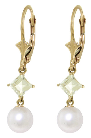 Pearl and Aquamarine Drop Earrings 5.0ctw in 9ct Gold