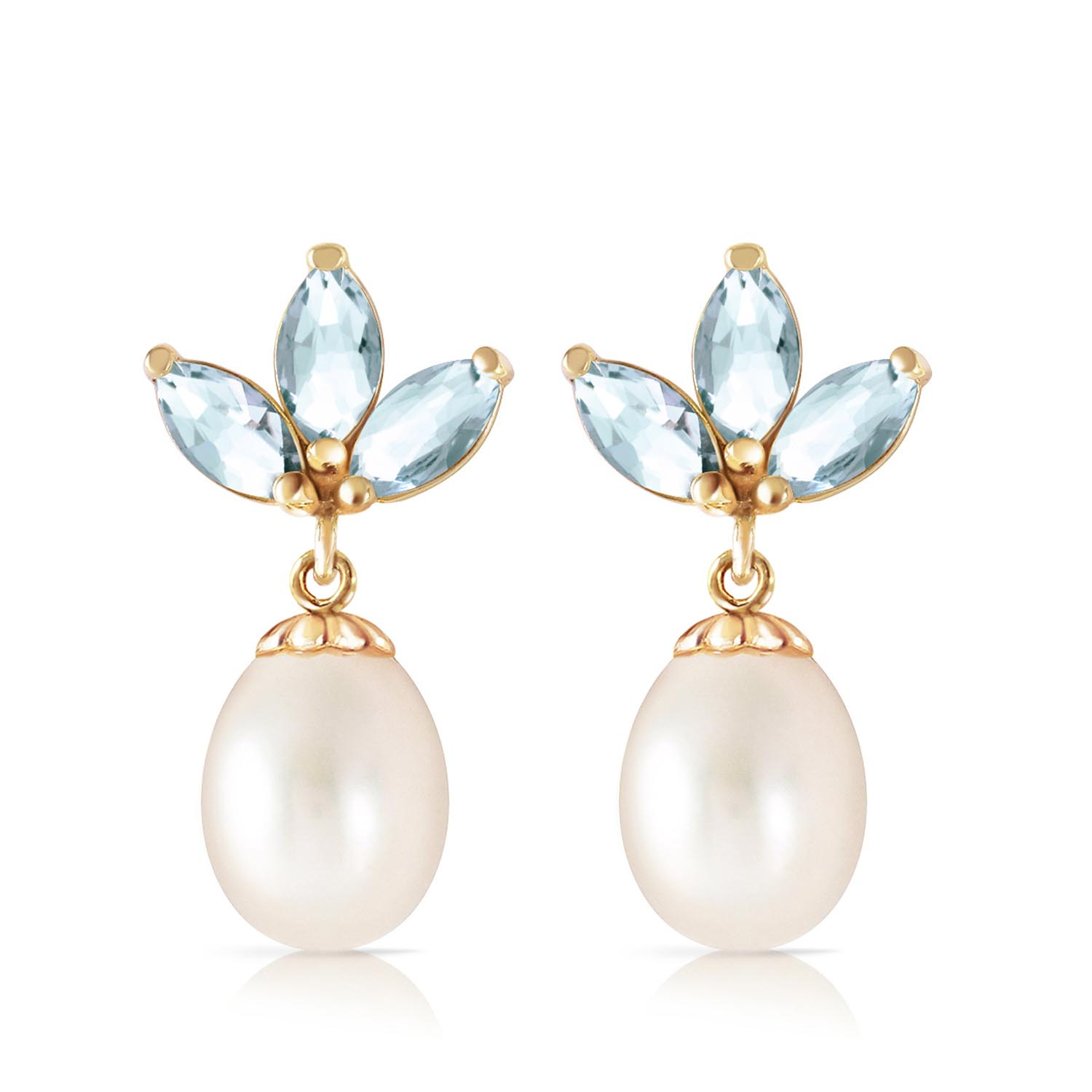 Pearl and Aquamarine Petal Drop Earrings 9.5ctw in 9ct Gold