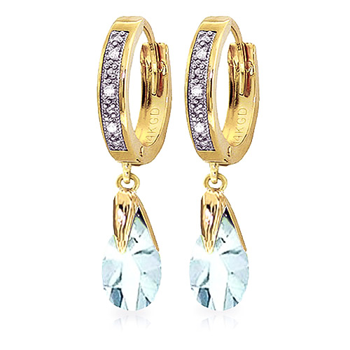 Diamond and Aquamarine Droplet Huggie Earrings in 9ct Gold
