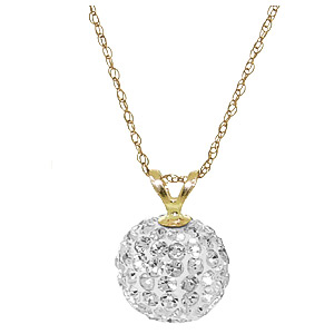 Cubic Zirconia Ball Pendant Necklace 4.2ctw in 9ct Gold