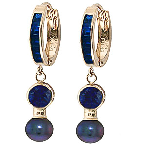Sapphire and Black Pearl Huggie Earrings 4.65ctw in 9ct Gold