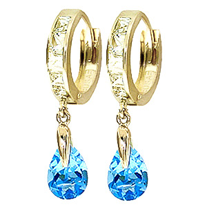 White Topaz and Blue Huggie Drop Earrings 1.2ctw in 9ct Gold