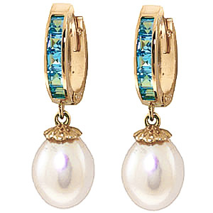 Pearl and Blue Topaz Huggie Earrings 9.3ctw in 9ct Gold