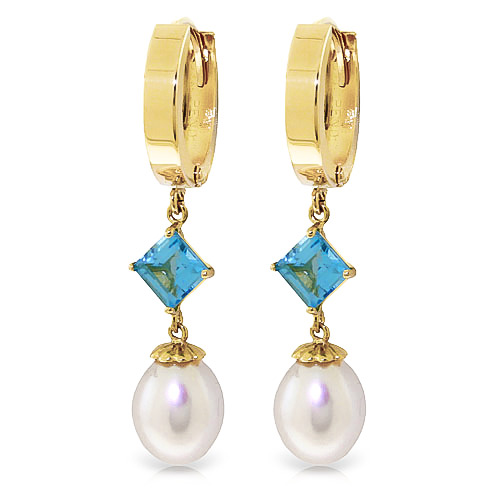 Pearl and Blue Topaz Droplet Huggie Earrings 9.5ctw in 9ct Gold