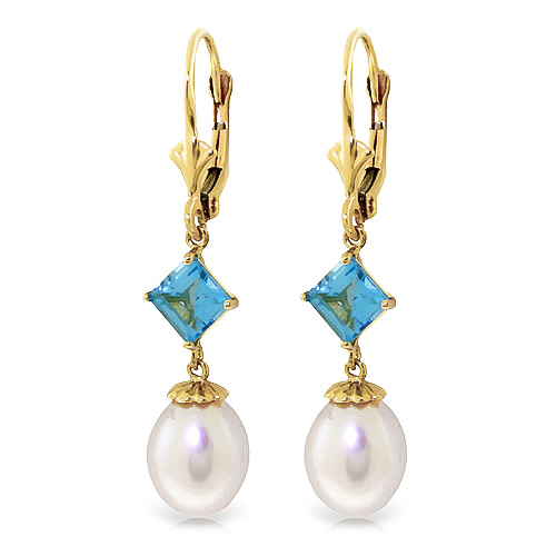 Pearl and Blue Topaz Droplet Earrings 9.5ctw in 9ct Gold