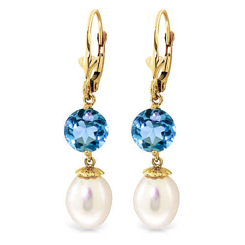 Pearl and Blue Topaz Droplet Earrings 11.1ctw in 9ct Gold