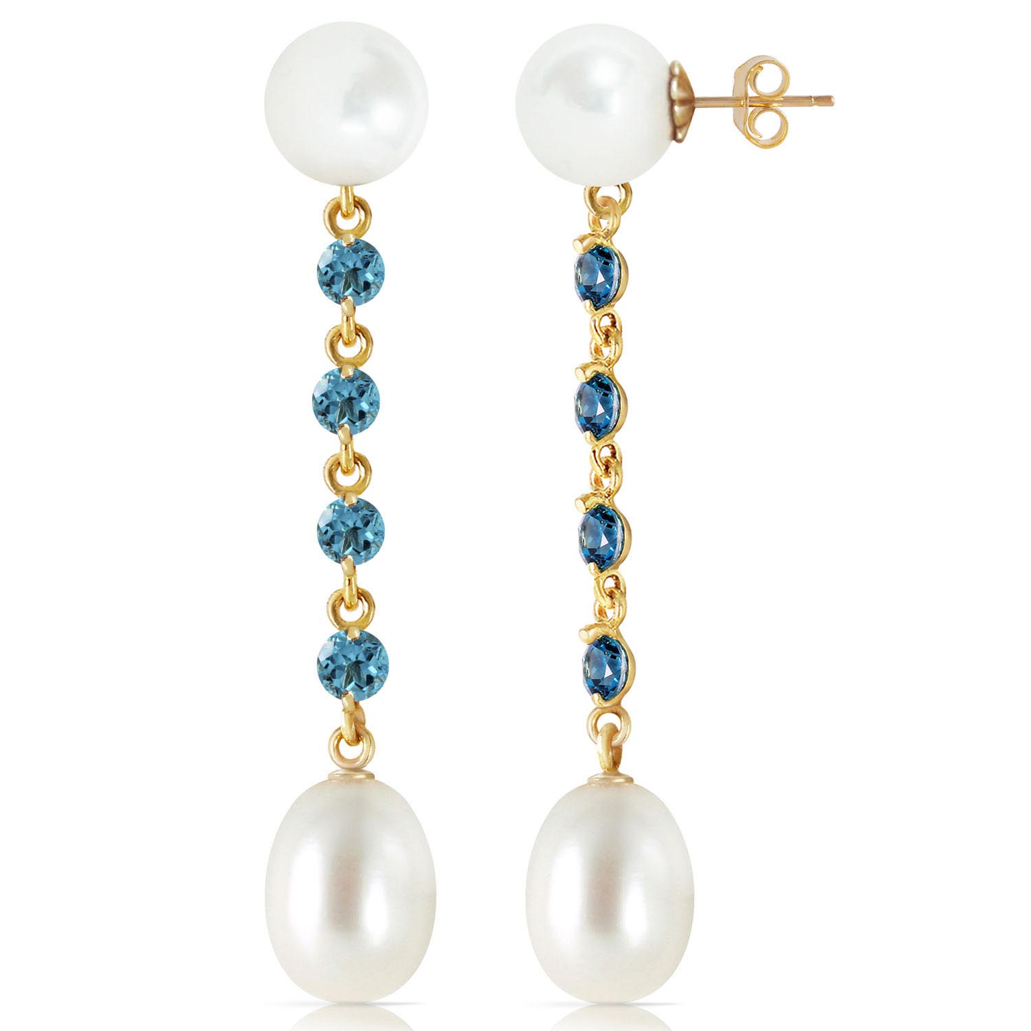 Pearl and Blue Topaz by the Yard Drop Earrings 11.0ctw in 9ct Gold