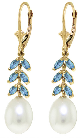 Pearl and Blue Topaz Drop Earrings 9.2ctw in 9ct Gold
