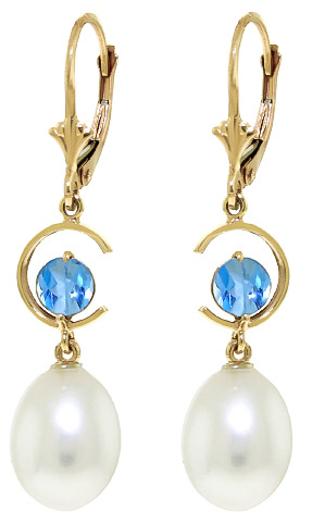 Pearl and Blue Topaz Drop Earrings 9.0ctw in 9ct Gold