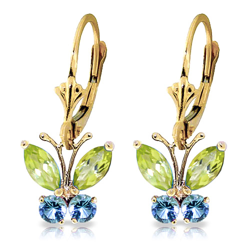 Peridot and Blue Topaz Butterfly Drop Earrings 1.24ctw in 9ct Gold