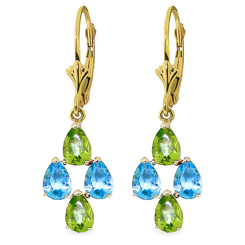 Peridot and Blue Topaz Drop Earrings 4.5ctw in 9ct Gold