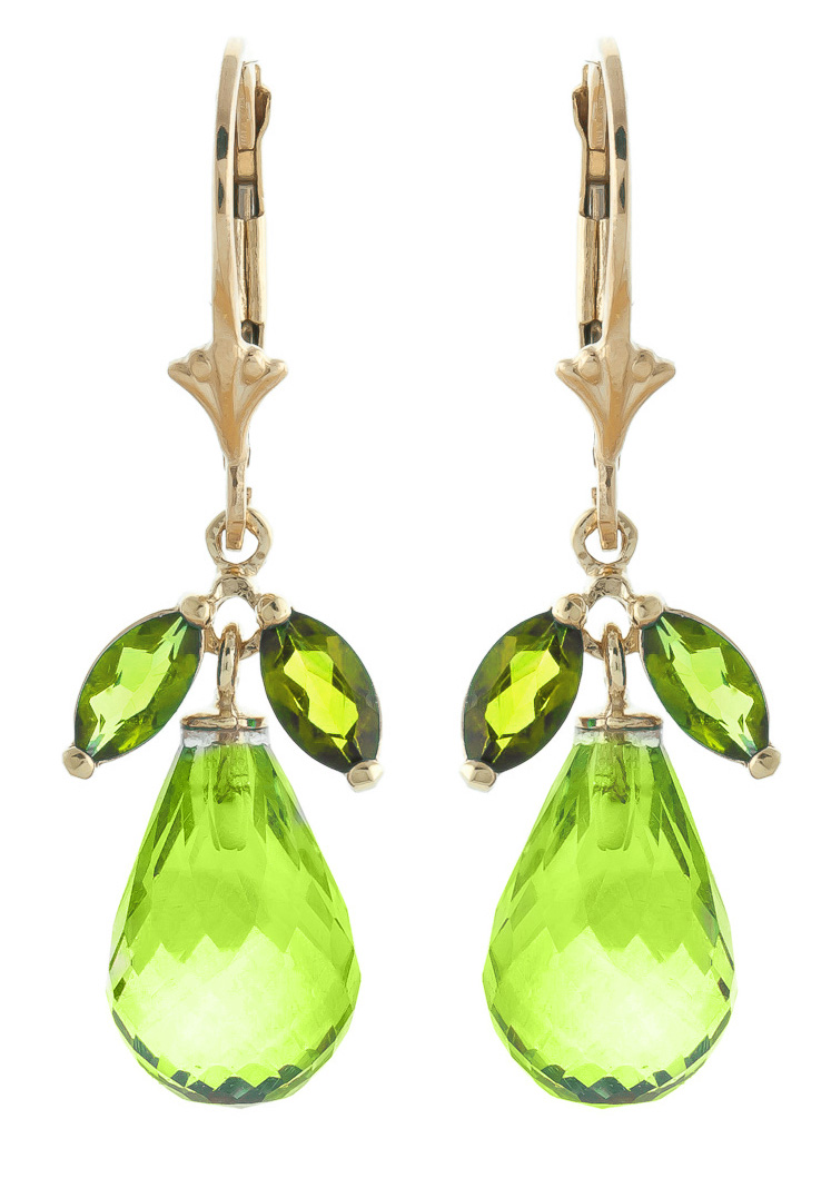 Peridot and Blue Topaz Drop Earrings 14.4ctw in 9ct Gold
